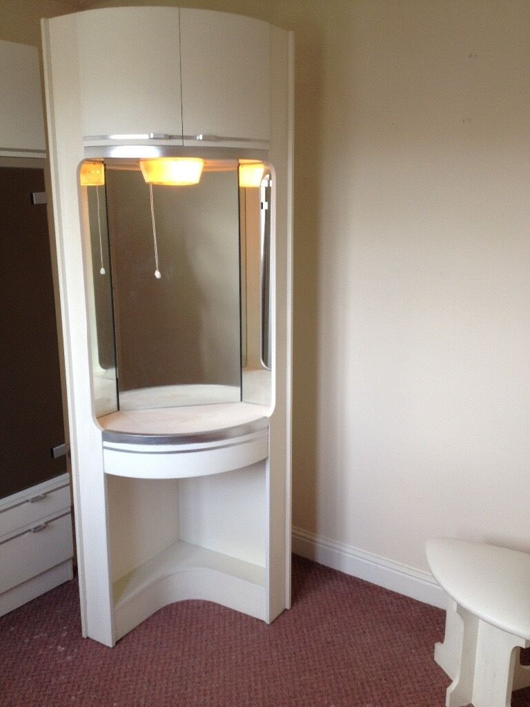 Corner White Dressing Table Unit With Storage Cupboard