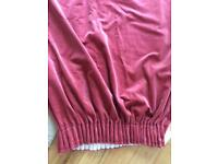 Rose pink crushed velvet curtains x2 pairs 90x90 & 66x90