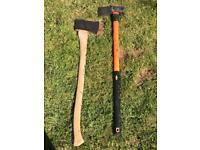 2 Wood Chopping Axes - 1 Chopping Axe and 1 6kg Splitting Axe