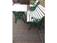 Vintage Cast Iron and Wood Garden Furniture