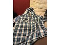 Next check shirt with hoodie, medium size, never worn