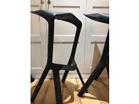 Black Bar stool iconic shape Miura for Plank. STUNNING