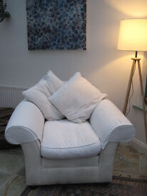 Quality Sofa Workshop armchair in cream linen with cushions, clean, good condition