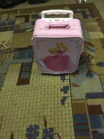 Pink princess pull along bag