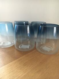 Blue/grey hurricane vases - only used once for our wedding
