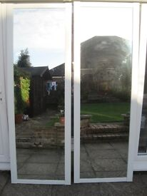 2 x Glass fronted Sliding Doors to fit gap up to 5ft,runners and fittings included,height 80 inches.