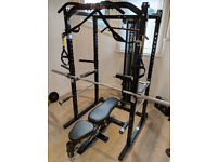 Powertec Power Rack, Lat Pulldown Tower, Work Bench and extras - complete system!