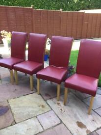 Red Leather Dining chairs, 4