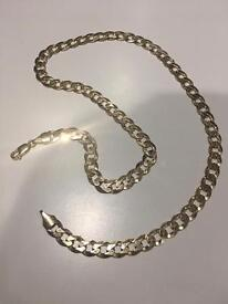 Solid 9ct gold flat curbed neck chain