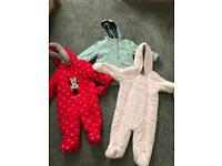 Baby girl 9-12 Months pramsuit and coat (M&S) pramsuit (Disney) all barely worn