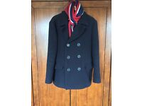 Jack Wills navy pea coat/ Franklin Marshal scarf