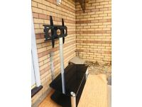 2-Shelf Cantilever TV Stand Mount Bracket Black Glass