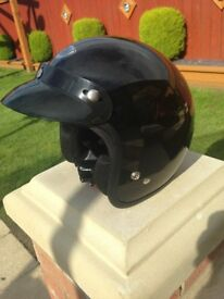 two open face motorcycle helmets used once one is size medium the other is an xl bargain £20 each