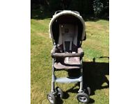 GRACO sit/lie pushchair with rain cover + Mothercare high chair