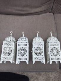 4 Lovely cream/white lanterns - great for wedding!