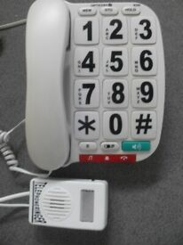 BIG BUTTON TELEPHONE + RING AMPLIFIER & LIGHT OPTION