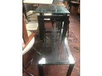 Glass Coffee Table & Glass Lamp Tamble - Set