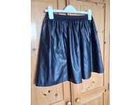H&M leather look skater skirt