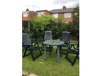 Garden reclining chair x 4 & a free table