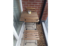 Garden table + two chairs