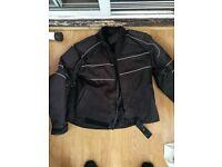 Motorbike Jacket. Black lightweight material (suit summer riding)