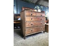 Victorian Antique Country Farmhouse Rustic Chest Of Drawers