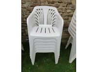 white garden chairs - 20 available