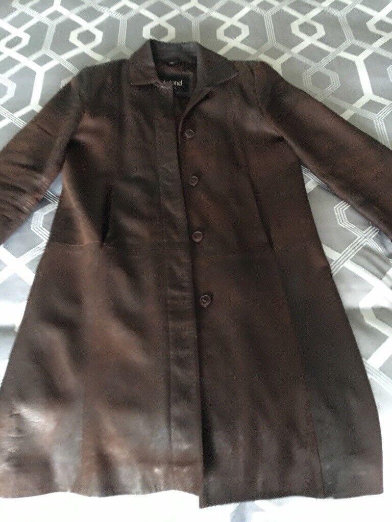 Leather lakeland coat brown