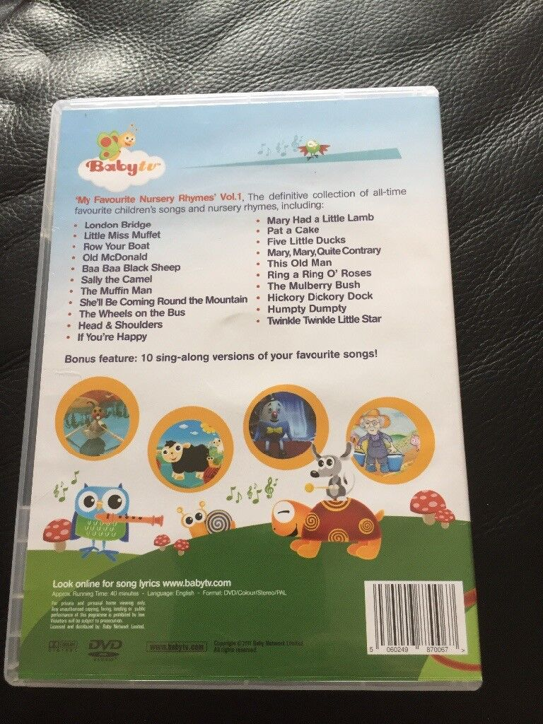 Baby Tv My Favourite Nursery Rhymes Vol 1 Dvd