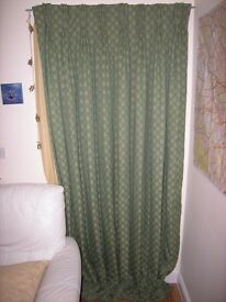 curtains olive green with gold leaf print
