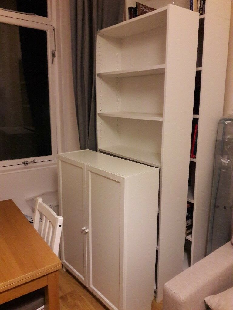 2x Billy Bookcases Short With Doors And One Tall In Leith Walk Edinburgh Gumtree