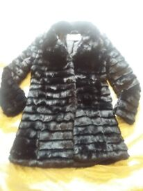Black Faux Fur Coat Size 12 BNWT