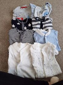 Baby boy baby grows/sleepsuits 0-1month