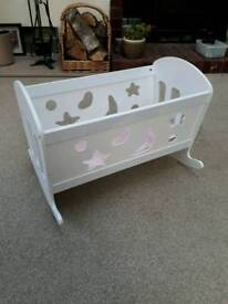 Wooden rocking toy crib cot