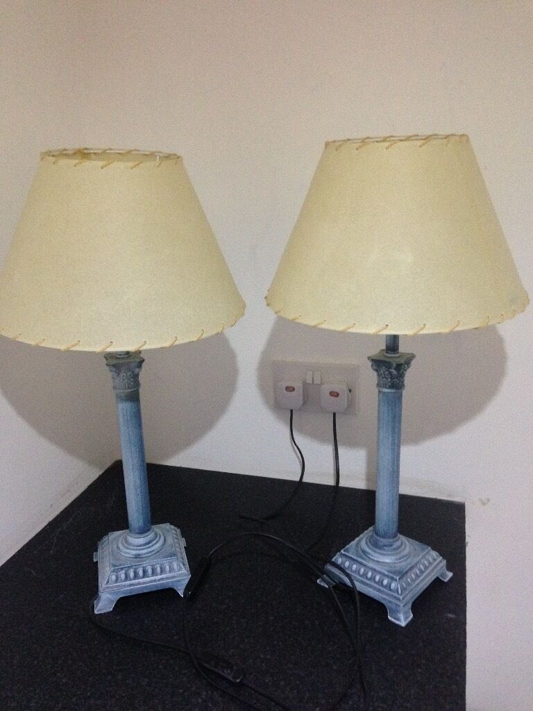 Blue wash metal stand lamp shades