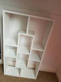 White wall book case
