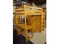 Rimini 3ft standard single high sleeper bedroom set with corner wardrobe and desk, all solid pine