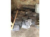 Big pile of old roof slates