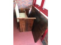 Real oak dining table with 6 real leather cream chairs. Needs sanded down and varnished