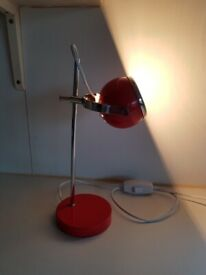 VINTAGE DESIGNER HEAVY BASE RED CHROME RISE FALL DESK LAMP MCM RETRO HOME OFFICE STUDY DESKTOP GC