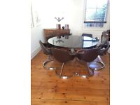 Mid century vintage retro smoked glass dining table and 8 chairs