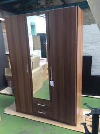 Walnut 3 Door + 2 Drawer Wardrobe with Mirror