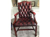 leather studded library chair