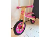 Kids Wooden Balance Bike - Pink - Big Jigs