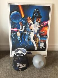 Star Wars canvas, light shade and Death Star lamp