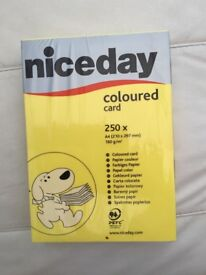 Yellow coloured card. Brand new, unopened. 250 x A4, 160 g/m2. £5. Torquay.
