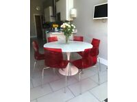 John Lewis Red Gel Dining Chairs x 6