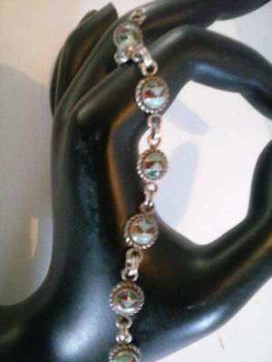 "Southwestern Inlaid Zuni Style Bracelet 6.5"" Sterling Silver 925 Vtg Turquoise"