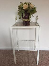 WHITE METAL TABLE OR BEDSIDE GLASS TOP VGC