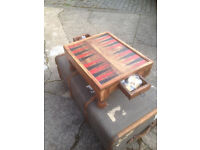 Lovely Vintage Backgammon Spanish Pine Game Table with 2 Drawers and Counters